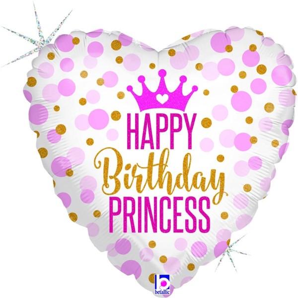 "Betallic Folienballon 45cm/18"" Glitter Birthday Princess Holographic"