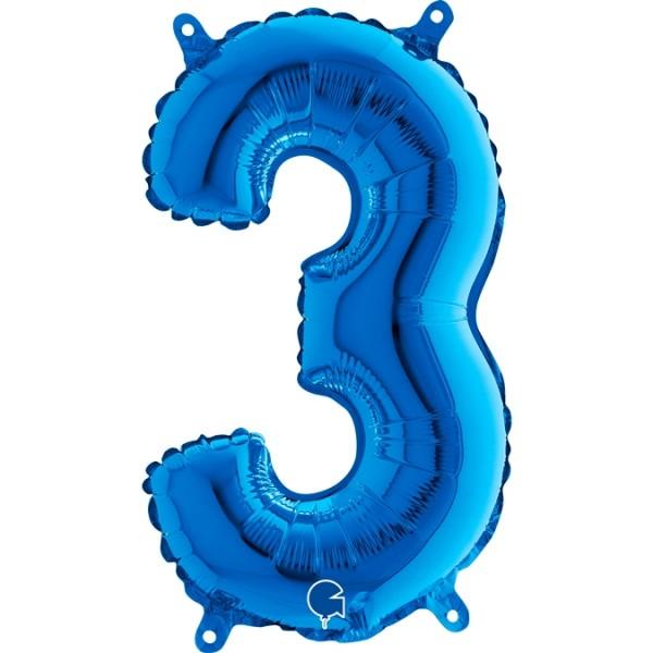 "Grabo Folienballon Blau 36cm/14"" Zahl 3"