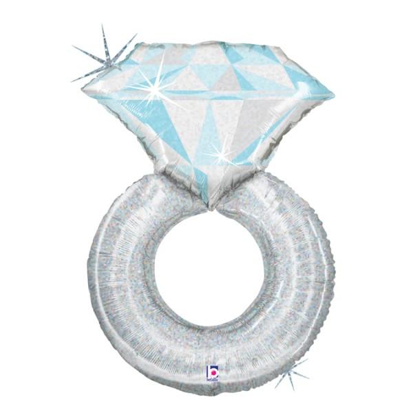 "Betallic Folienballon Platinum Wedding Ring Holo 96cm/38"""