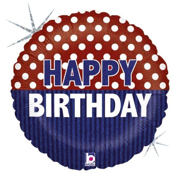 "Betallic Folienballon Happy Birthday Nautical Holo 46cm/18"""