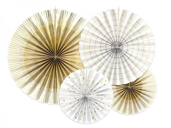 PartyDeco Dekofächer Weiß & Gold 4 Stück