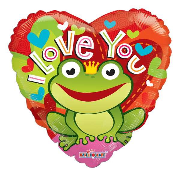 "Kaleidoscope Folienballon Herz ""I Love You - Froschkönig"", 36"""