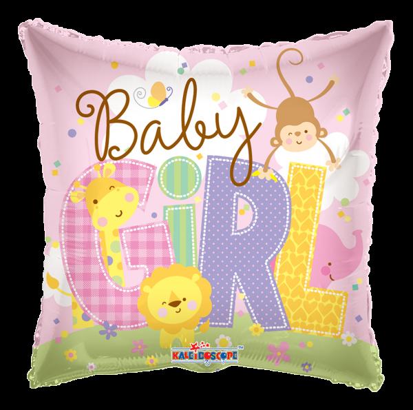 """Kaleidoscope Folienballon """"Baby Girl, rosa - Tierbabys"""", 18"""""""