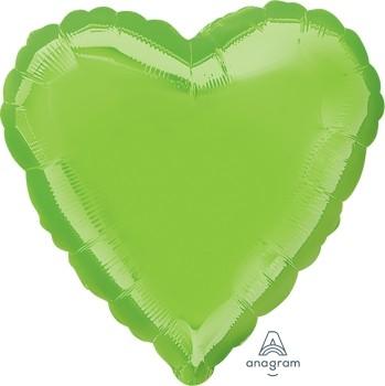 Anagram Folienballon Herz 45cm Durchmesser Iridescent Hellgrün (Lime Green)