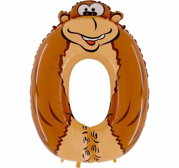 "Grabo Folienballon Zahl 0 Animaloon Gorilla 100cm/40"""