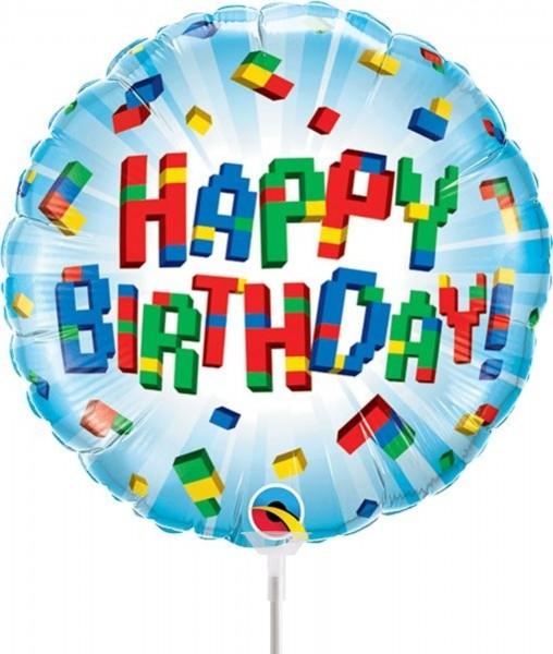 "Qualatex Folienballon Birthday Exploding Blocks 23cm/9"" luftgefüllt inkl. Stab"