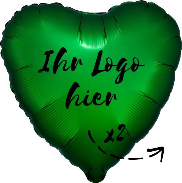 """Folien-Werbeballon Herz Satin Luxe Emerald 45cm/18"""" 2-Seitig bedruckt"""