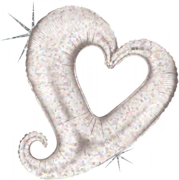 """Grabo Folienballon Chain of Hearts Silver Holographic Mini 35cm/14"""""""