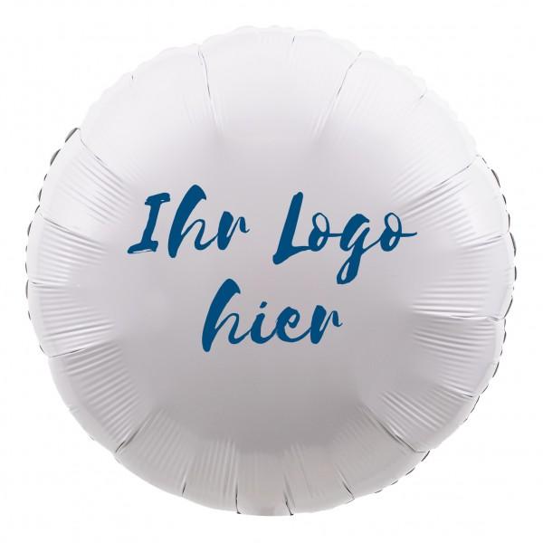 Folienballon Rund 45cm Metallic Weiß mit einseitigem Logodruck