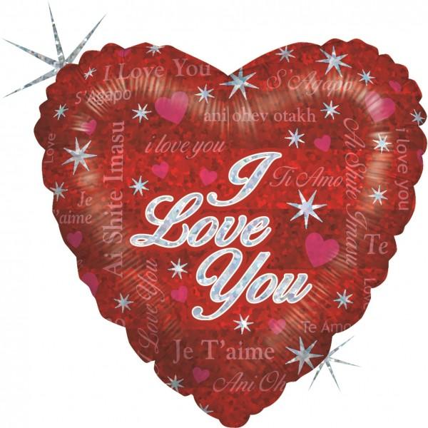 "Betallic Folienballon Sparkling Love Holographic 23cm/9"""