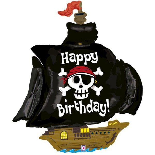 Betallic Folienballon Happy Birthday Pirate Ship 117cm/46""