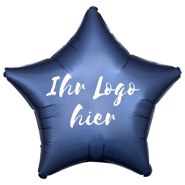 "Folien-Werbeballon Stern Satin Luxe Steel Blue 50cm/20"" 1-Seitig bedruckt"