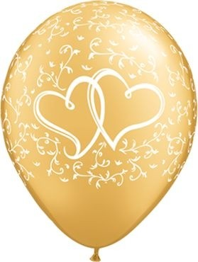 "Qualatex Latexballon Entwined Hearts Gold 28cm/11"" 25 Stück"