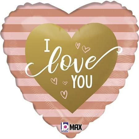 "Betallic Folienballon Rose Gold Stripe I Love You 45cm/18"""