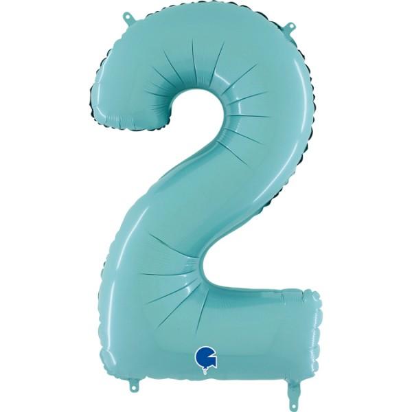 "Grabo Folienballon Zahl 2 Pastel Blue 66cm/26"""