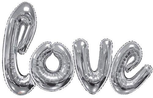 """Kaleidoscope Folienballon Happy Love Script Silver 84x53"""" S"""