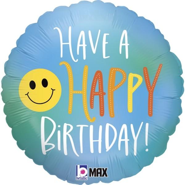 "Betallic Folienballon Happy Birthday Smiley 45cm/18"""