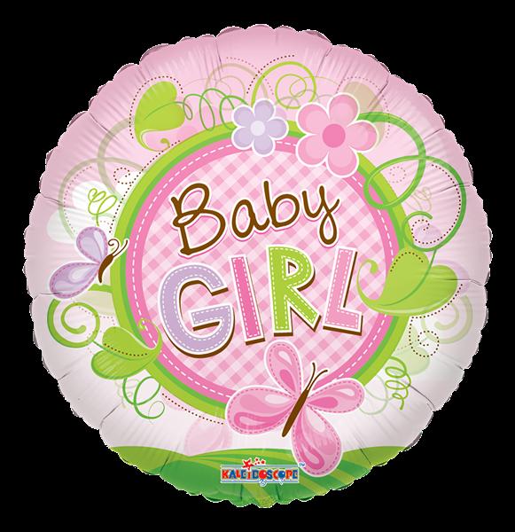 "Kaleidoscope Folienballon ""Baby Girl - Rosa Schmetterling"", 18"""