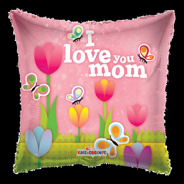 "Kaleidoscope Folienballon I Love You Mom,Tulpen 36"" S"