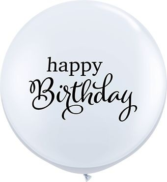 Qualatex Latexballon Simply Happy Birthday White 90cm/3' 2 Stück