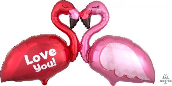 "Anagram Folienballon 115cm Breite ""Love"" Flamingo"