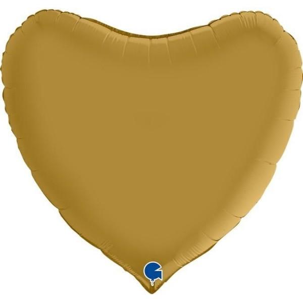 "Grabo Folienballon Herz Satin Gold 90cm/36"""