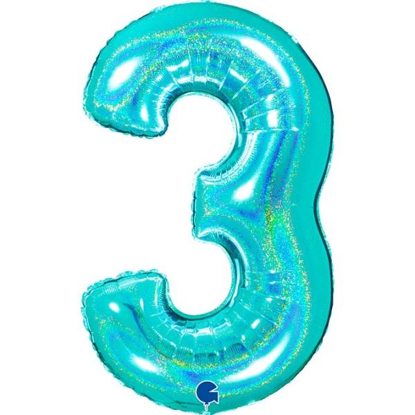 "Grabo Folienballon Zahl 3 Glitter Holographic Tiffany 100cm/40"""