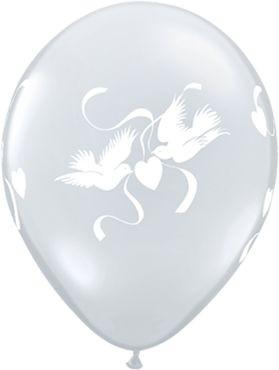 "Qualatex LatexballonLove Doves Crystal Diamond Clear 28cm/11"" 25 Stück"