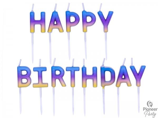 """Pioneer Kerzen """"Happy Birthday"""" Regenbogen 3cm"""