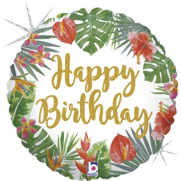 "Betallic Folienballon Tropical Birthday Holographic 46cm/18"""