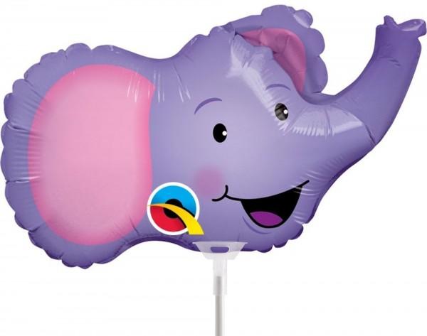 "Qualatex Folienballon Elated Elephant 36cm/14"" luftgefüllt inkl. Stab"