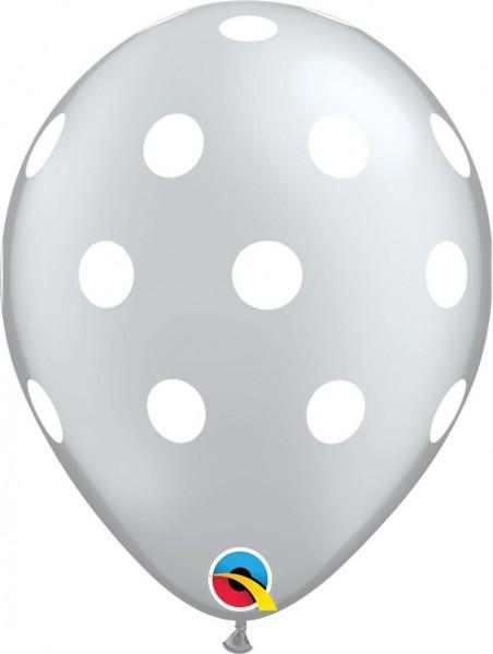 "Qualatex Latexballon Big Polka Dots-Silber 28cm/11"" 25 Stück"
