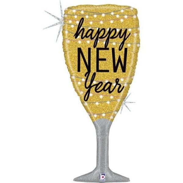 "Betallic Folienballon Glittering New Year Holographic 104cm/41"""