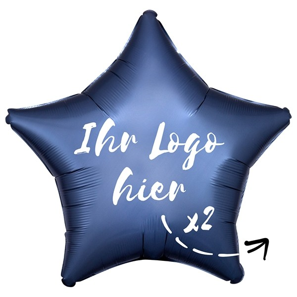 "Folien-Werbeballon Stern Satin Luxe Steel Blue 50cm/20"" 2-Seitig bedruckt"