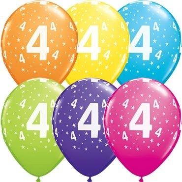 "Qualatex Latexballon Stars 4-A-Round Tropical Assortment 28cm/11"" 50 Stück"