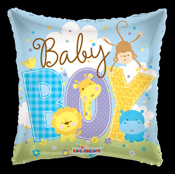 "Kaleidoscope Folienballon ""Baby Boy, blau - Tierbabys"", 18"""