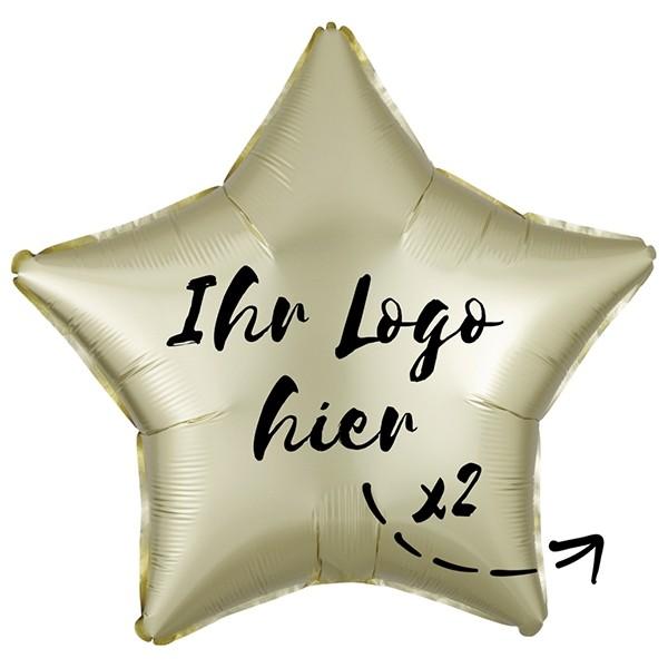 "Folien-Werbeballon Stern Satin Luxe Pastel Yellow 50cm/20"" 2-Seitig bedruckt"
