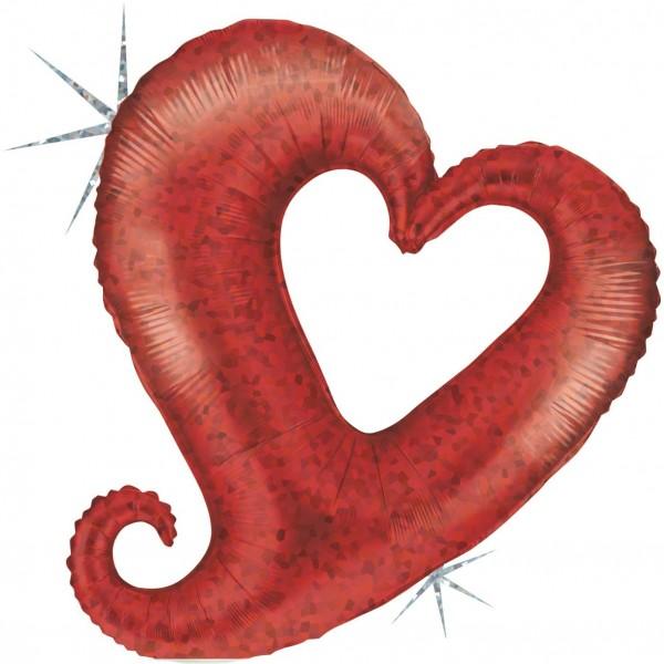 """Grabo Folienballon Chain of Hearts Red Holographic Mini 35cm/14"""""""