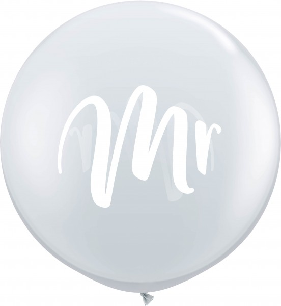 "Qualatex Latexballon White Mr. Jewel Diamond Clear 90cm/3"" 2 Stück"