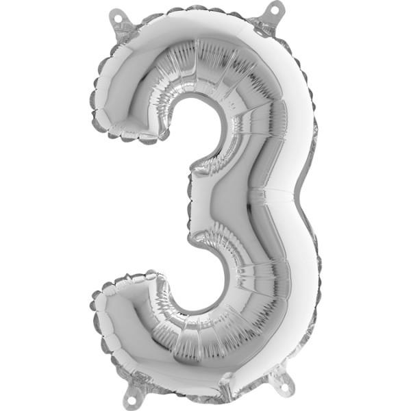 "Grabo Folienballon Mini Silber 36cm/14"" Zahl 3"