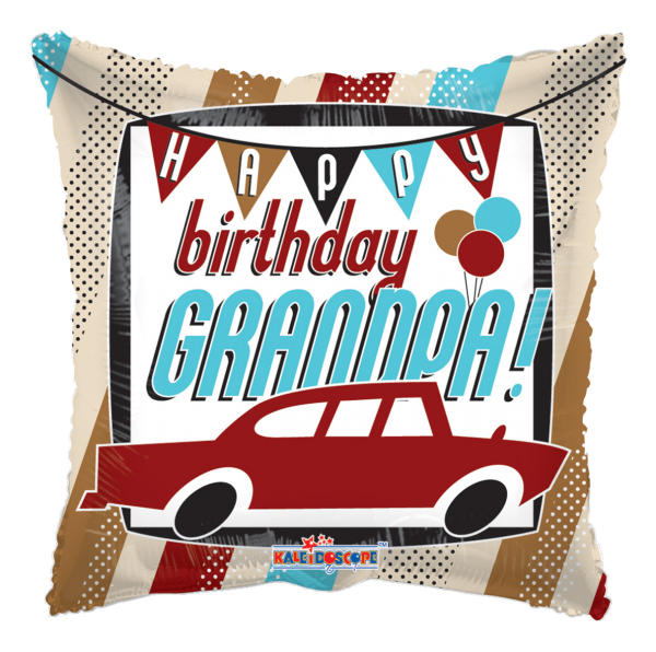 """Kaleidoscope Folienballon """"Happy Birthday Grandpa - Auto"""", 17"""""""