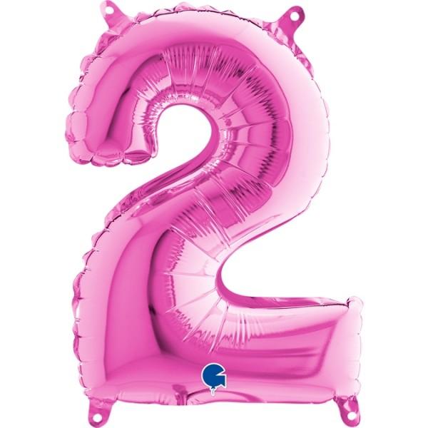 """Grabo Folienballon Pink 36cm/14"""" Zahl 2"""