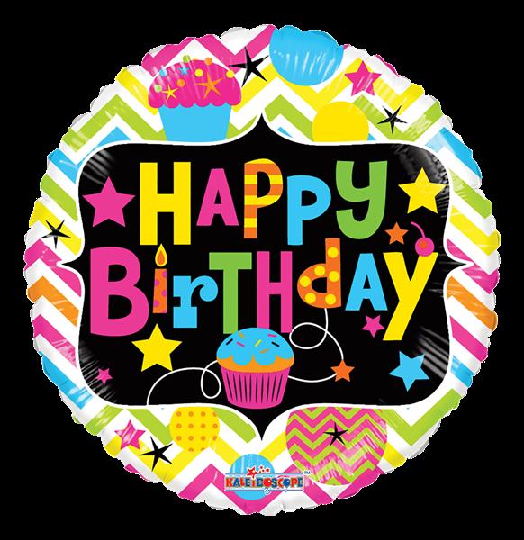 """Kaleidoscope Folienballon """"Happy Birthday - Bunte Cupcakes"""", 18"""""""