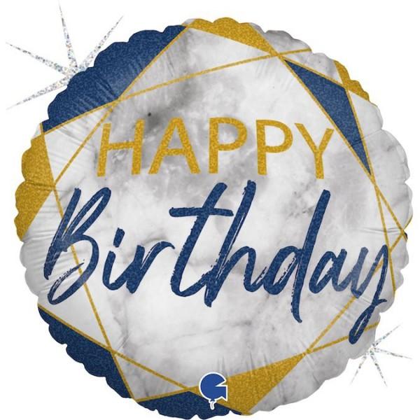 "Grabo Folienballon Marble Mate Happy Birthday Rund 45cm/18"""