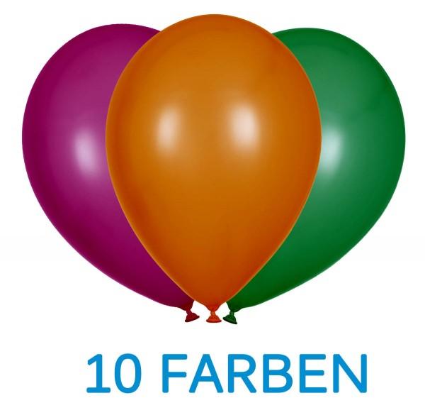 "Globos Luftballons Metallic 10 Farben Naturlatex 30cm/12"" 100er Pack"