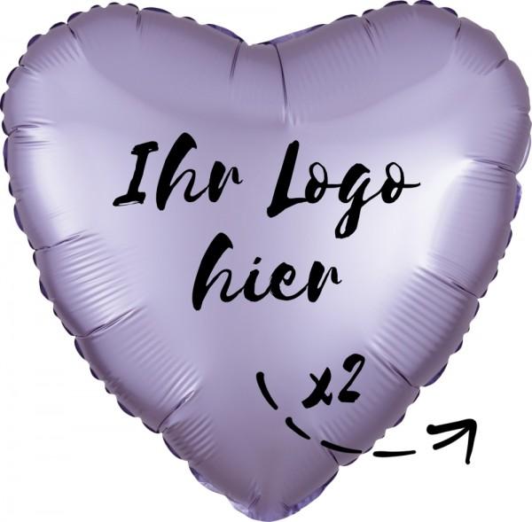 """Folien-Werbeballon Herz Lilac Luxe Pastel Yellow 45cm/18"""" 2-Seitig bedruckt"""