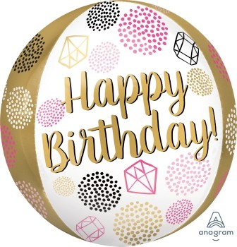 """Anagram Folienballon Orbz 40cm Durchmesser """"Happy Birthday"""" Diamanten (Gems)"""