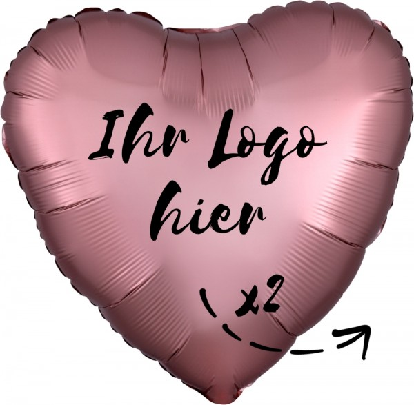 "Folien-Werbeballon Herz Satin Luxe Rose Cooper 45cm/18"" 2-Seitig bedruckt"
