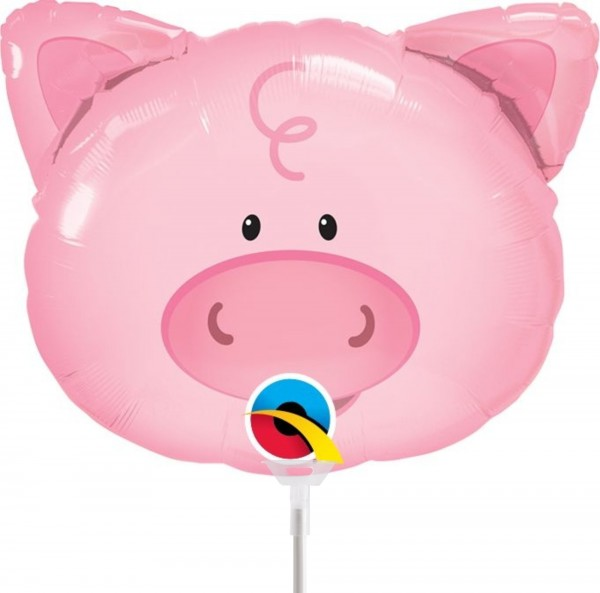 "Qualatex Folienballon Playful Pig 36cm/14"" luftgefüllt inkl. Stab"