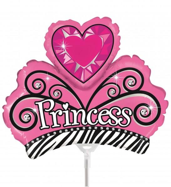 """Betallic Folienballon Princess Tiara Mini 23cm/9"""" luftgefüllt inkl. Stab"""